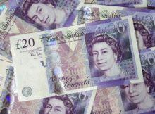 several pound bills new british 20 pounds money