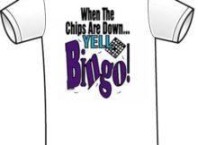 yell bingo tee shirt detail